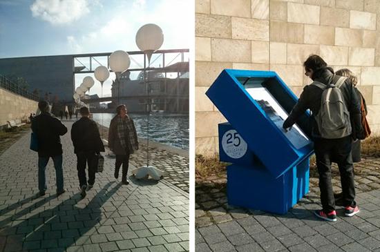 베를린 장벽을 재현한 'Lichtgrenze' 프로젝트의 풍경