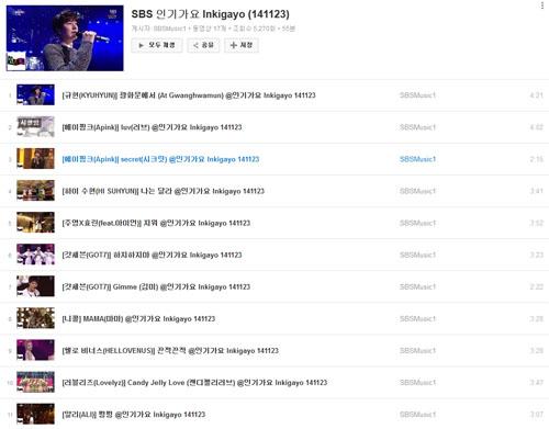 유튜브 내 SBS <인기가요> 동영상 채널