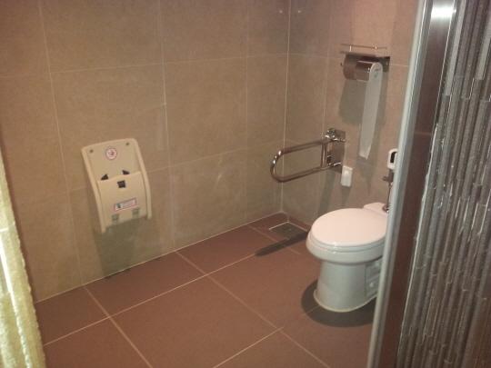 '명동성당 1898' 지하 1층 남자 장애인 화장실 내부 모습이다. 이곳은 남녀 화장실이 분리돼 있지만, 세면대 설치가 안 돼 있다.