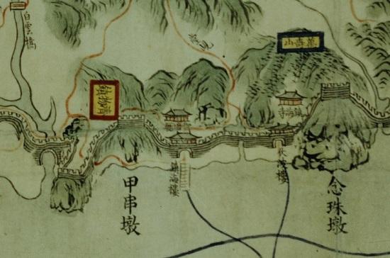 서울대도서관이 소장하고 있는 '강도부지도' 중 갑곶돈대 부분. 이 지도의 제작시기는 1875~1894년경으로 보고 있다.