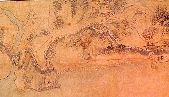 19세기 후반에 제작된 '강화도지도'  중의 갑곶돈대 부분. 8폭으로 된 병풍으로 현재 서울대 박물관에 있다.