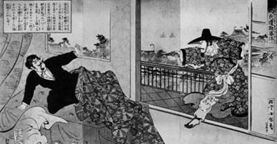김옥균(왼쪽)이 중국 상하이에서 자객의 공격을 받는 장면. 일본 신문에 실린 삽화다.