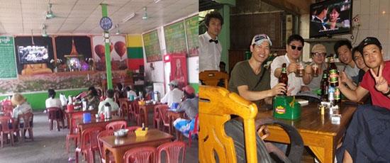 미얀마 한류의 근원 한국 드라마 왼쪽)오전인데도 식당에 앉아 한국드라마에 심취해 있는 사람들이 꽤 있었다. 오른쪽)유자나플라자 근처 어느 술집: 술집 벽면 TV에는 한국드라마가 방영 되고 있었다.