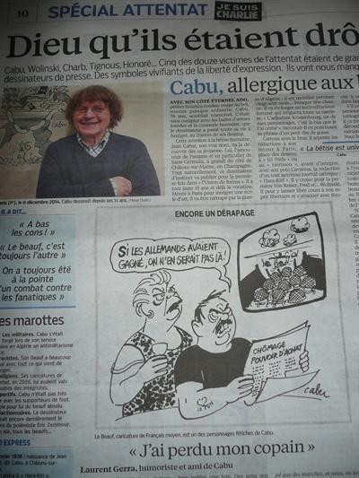 일간지 <오주르디 엉 프랑스(Aujourd'hui en France)> 8일자에 실린 캬뷰의 사진과 만화