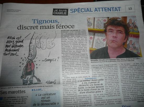 일간지 <오주르디 엉 프랑스(Aujourd'hui en France)> 8일자에 실린 티뉴스의 사진과 만화