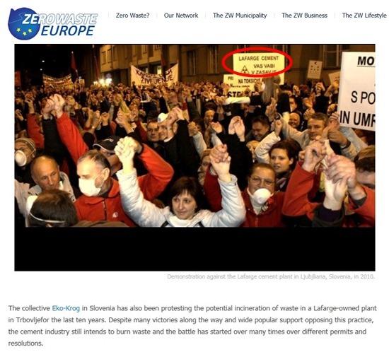 ZERO WASTE EUROPE 홈페이지에 지난 2014년11월14일자 뉴스입니다. 2010년 슬로베니아 국민들이 라파즈시멘트공장의 스레기소각을 반대하는 시위를 했음과 해외 여러나라 사람들이 모여 시멘트 공장의 쓰레기 소각에 대해 반대 의견들을 나눴다고 밝히고 있습니다. 환경부의 주장과는 달리 해외의 시민들도 쓰레기시멘트에 찬성하지 않습니다.