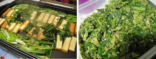 말린 두부와 자른 고마츠나(こまつな, 小松菜)를 같이 프라이팬에 구웠습니다. 사진 오른 쪽은 시금치나물입이다.