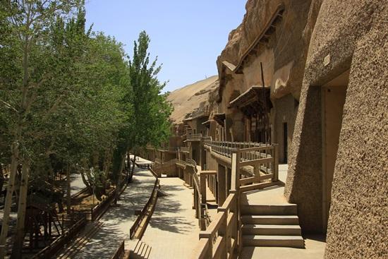 막고굴 외경 푸른 백양나무가 울창한 사막의 오아시스, 그곳에 천불동이 있다
