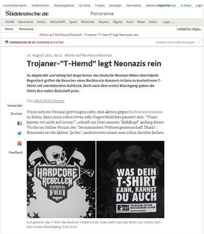 네오나치를 대상으로 한 티셔츠 프로젝트에 대해 보도한 독일 언론 <디 자이트> 화면