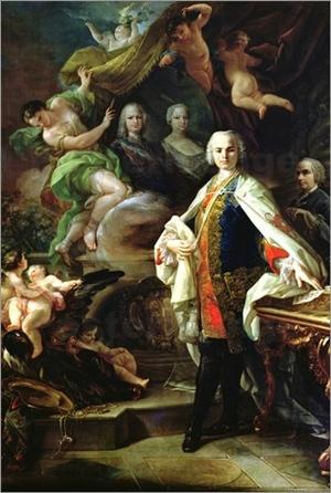 코라도 지아갱토의 카를로 브로스키 파리넬리의 초상화. 1746년 작품으로 알려져 있다.