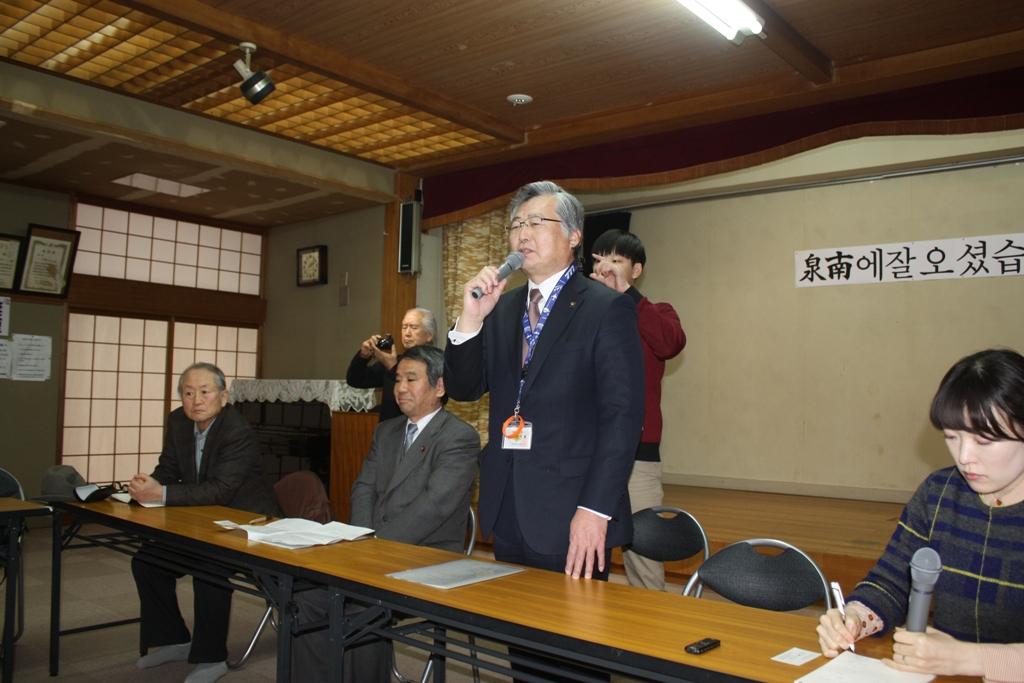 타케나카 이사토 센난시장 센난시장과 센난시의회 의장이 청소년대학생환경연수단을 환영해주었다.