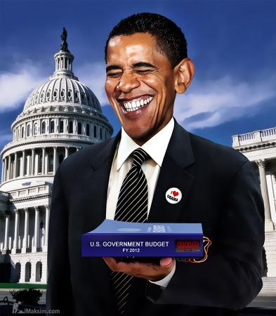 오바마 대통령이 시한폭탄인 예산안을 들고 웃고 있다. 자료: The Last Refuge, February 2, 2015   http://theconservativetreehouse.com/2015/02/02/president-obama-to-present-his-fiscal-year-2016-budget-proposal-today/