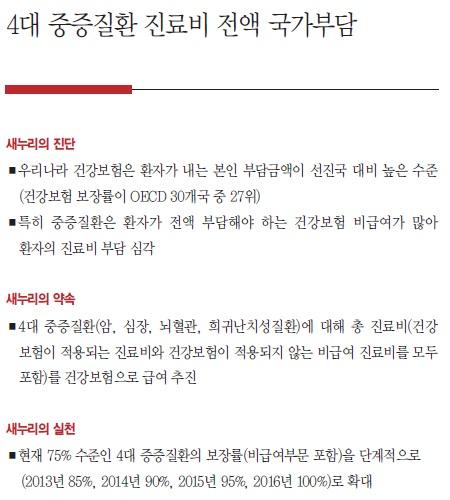 4대중증질환 진료비 전액 국가부담 관련, 박근혜 선본 공약집.
