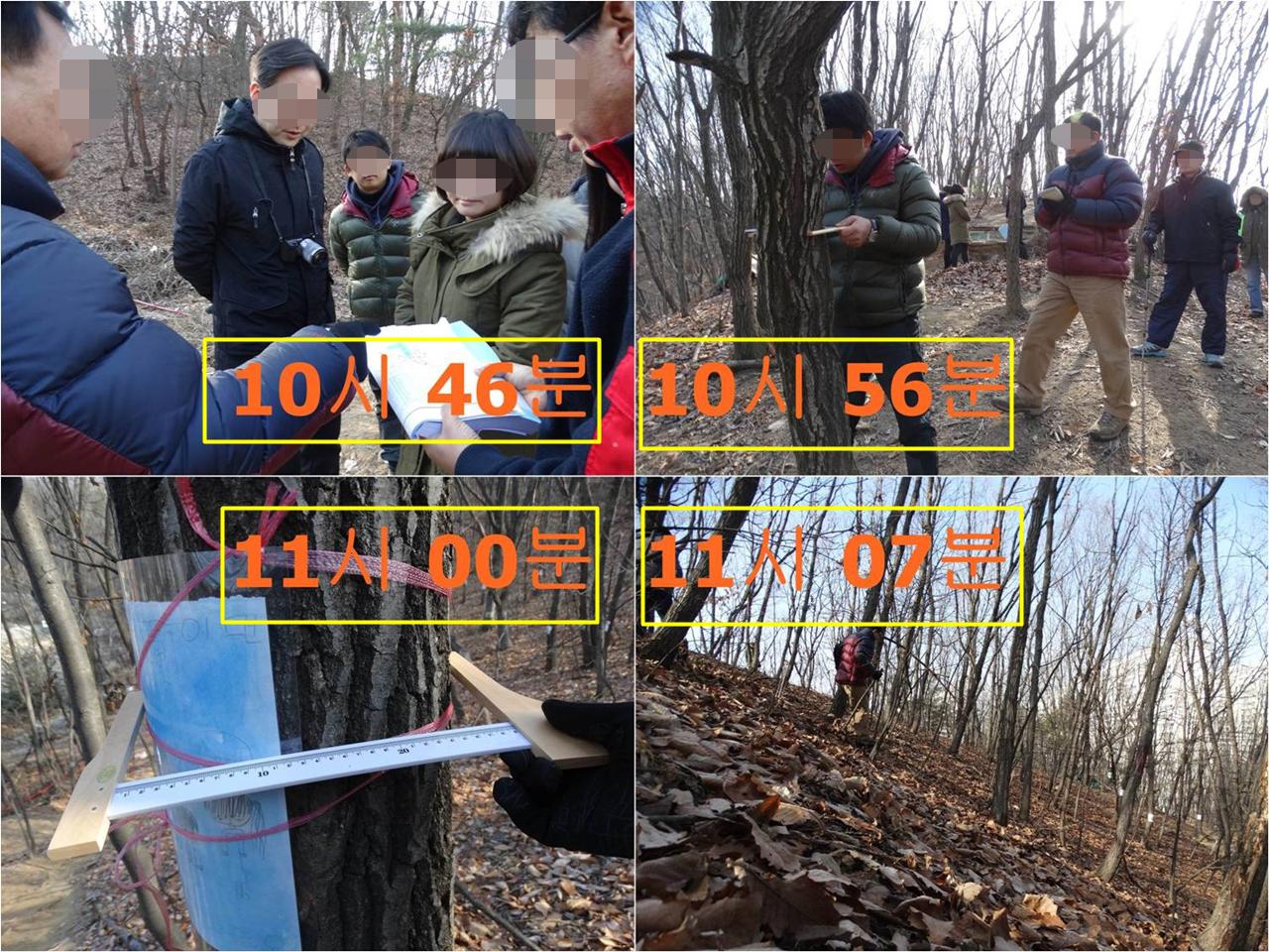 현장에 도착하여 나무 30그루의 지름을 측정하고, 하산하기까지 총 21분 걸렸다. 부실한 환경영향평가보다 더 부실한 한강유역환경청의 재조사를 어떻게 신뢰할 수 있단 말인가?