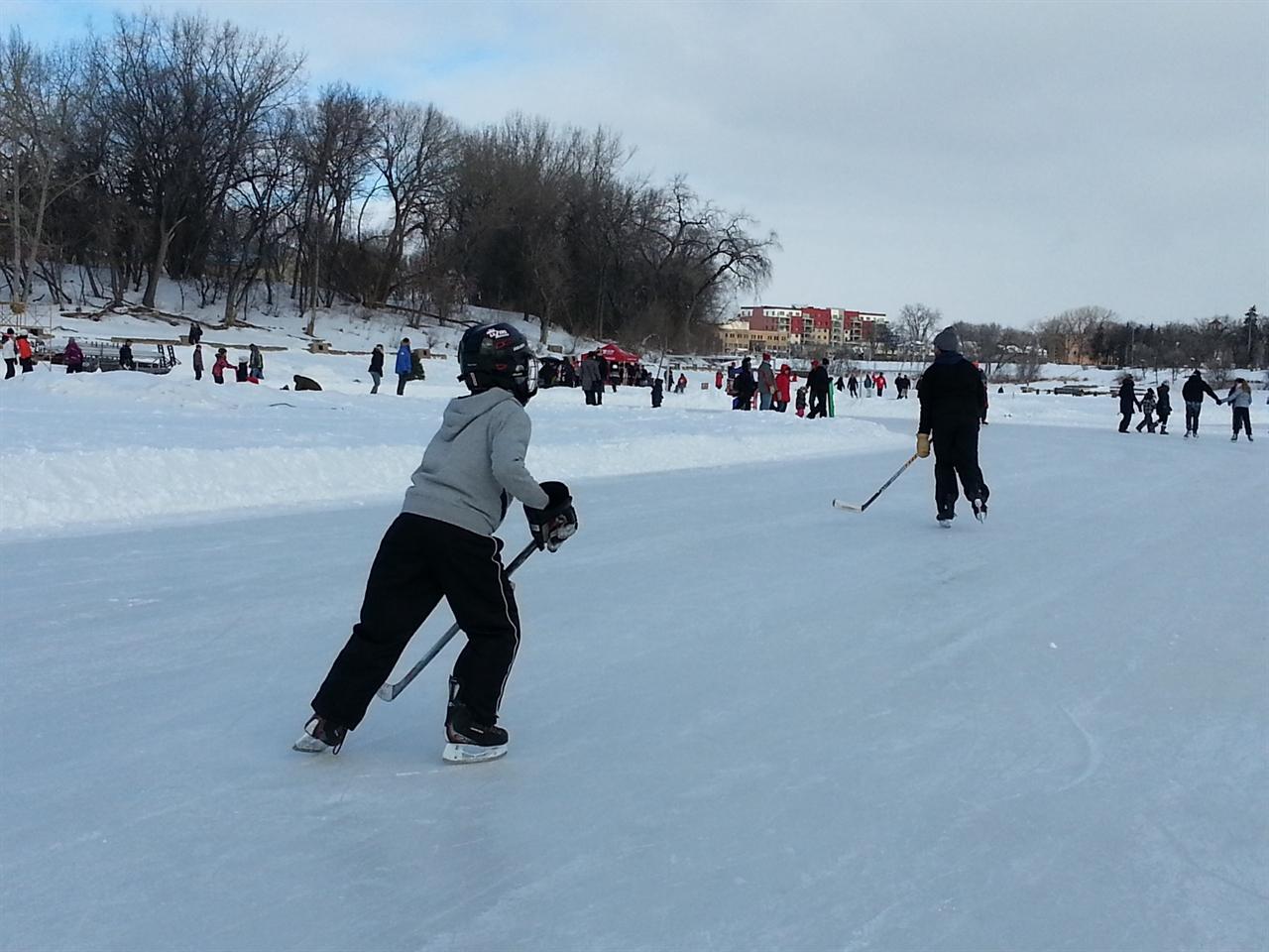 길이 1.5km에 달하는 위니펙 레드리버 스케이트장, 시민들에게 무료 개방돼 하루 평균 5000여 명이 이용한다.