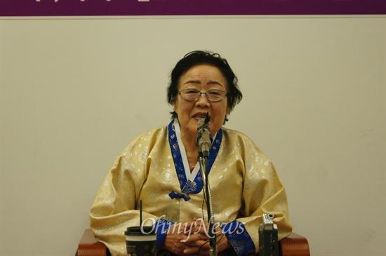 이용수 할머니가 지난 12일 오후 대구MBC 강당에서 위안부로 끌려갔던 자신의 이야기를 증언하고 있다.