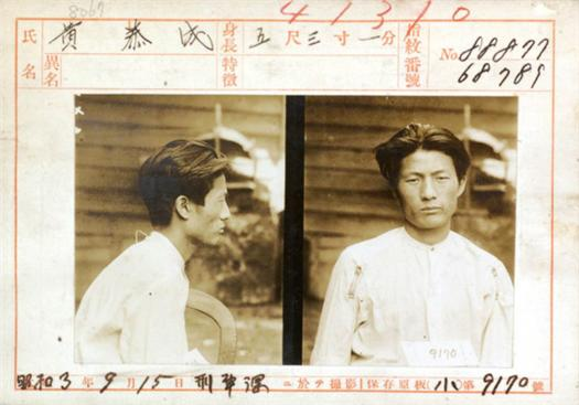 황태성, 1928년 9월 15일 치안유지법사건으로 체포되어 경기도 경찰부 형사과에서 촬영한 사진.