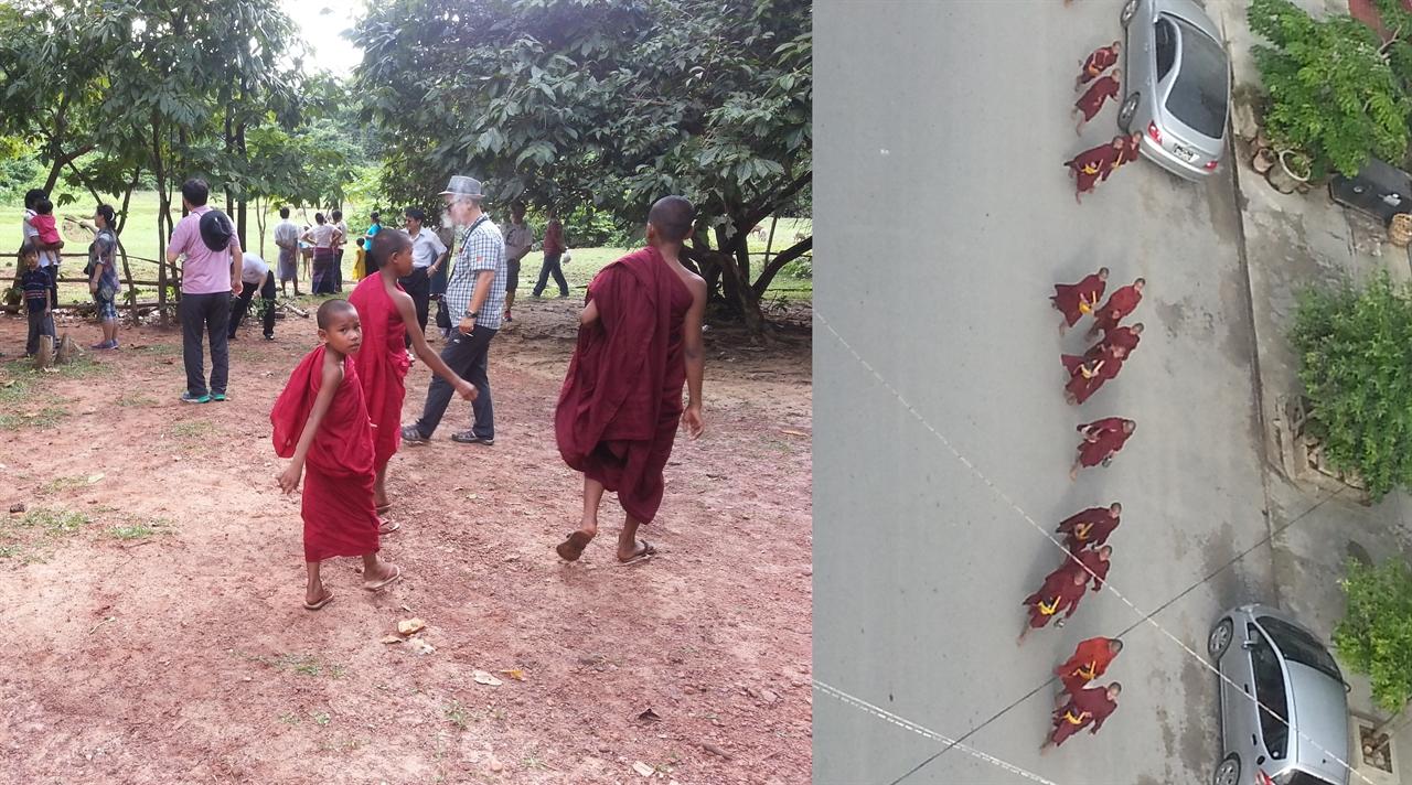 미얀마 스님들 (좌)어느 곳을 가든 승복 입은 스님을 볼 수 있다. (우) 줄지어 아침 탁발 공양하는 스님들