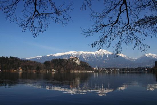 블레드 호수에 비친 블레드 성과 눈덮인 줄리안 알프스 산맥