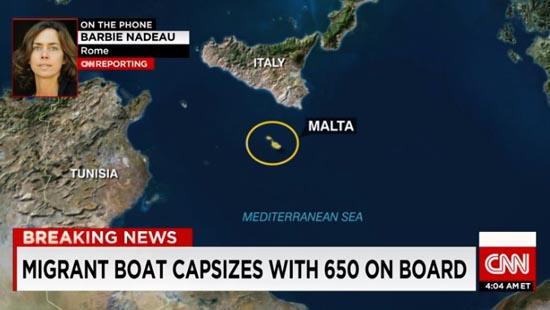 지중해 해상에서 발생한 난민선 전복 사고를 보도하는 CNN 뉴스 갈무리.