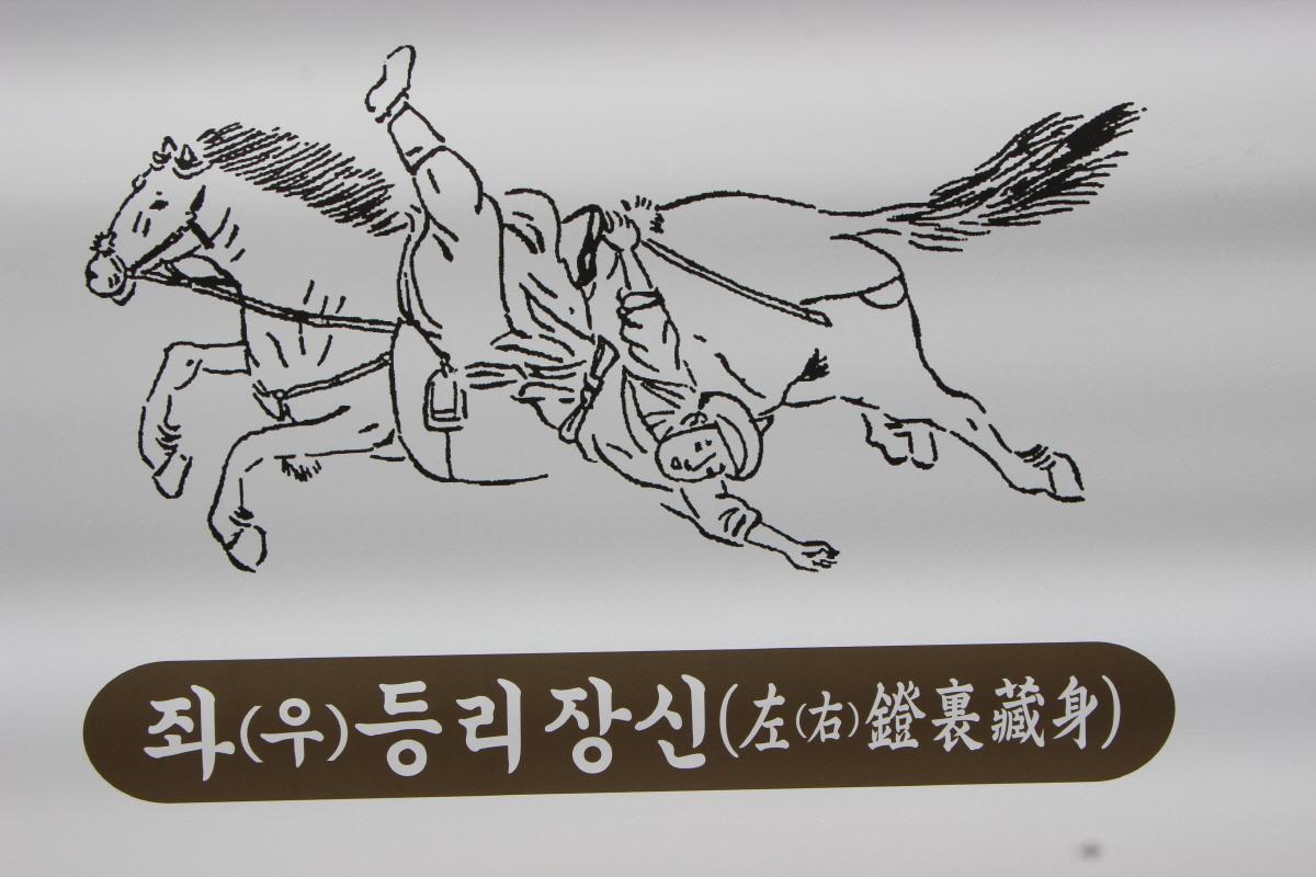 말 옆구리에 거꾸로 매달리기