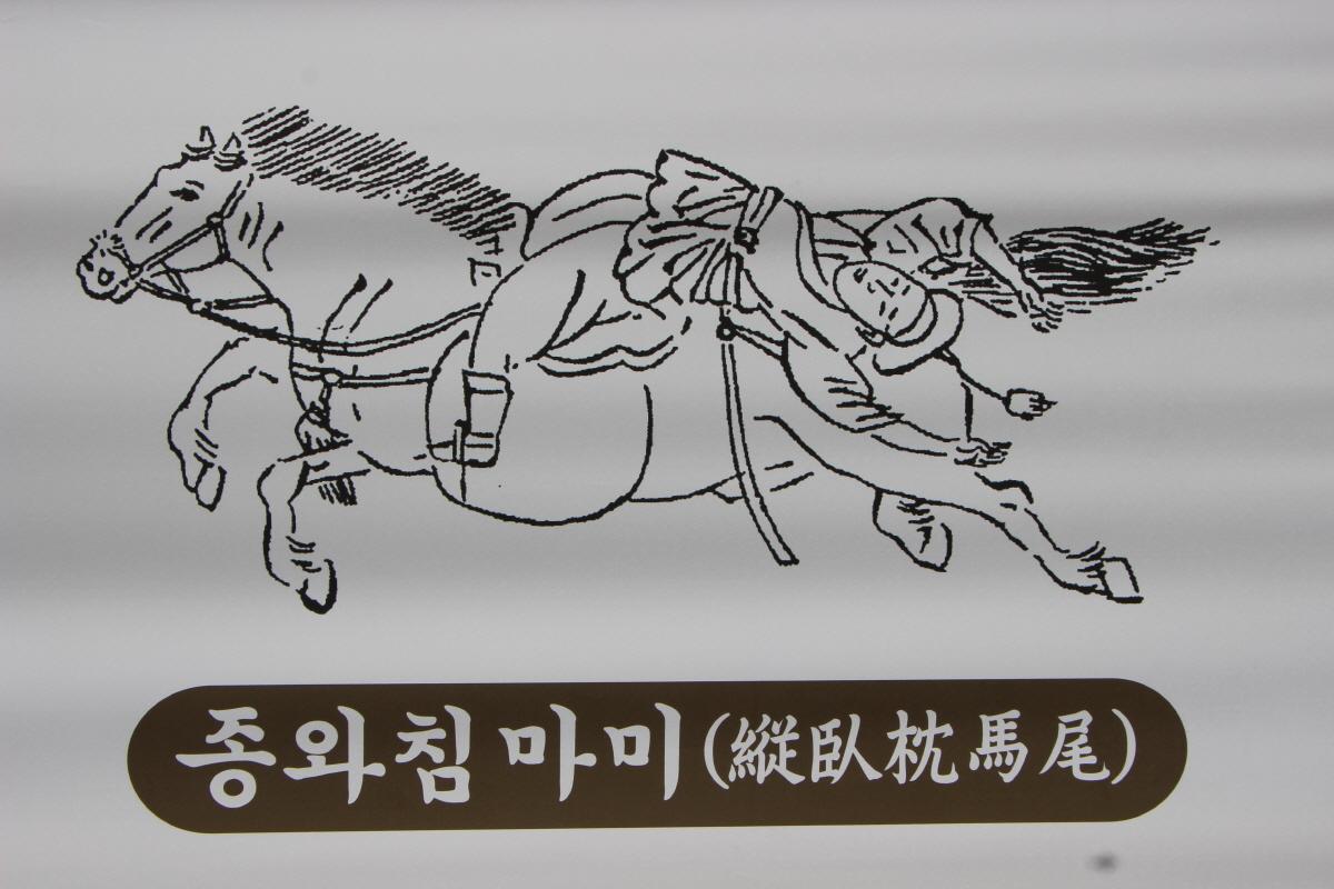 말 위에 길게 거꾸로 눕기