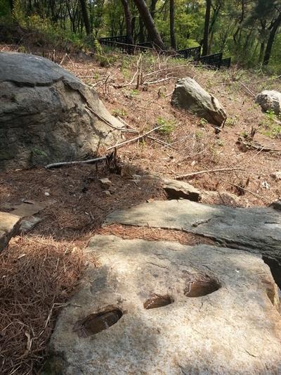 팔달산을 오르다 구멍 뚫린 돌들을 만났다.