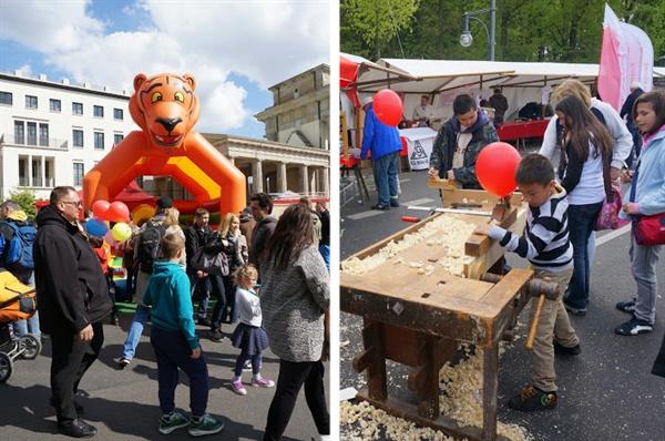 독일 금속노조 부스에서 아이들도 자연스럽게 노동절 행사에 참여하고 있다.