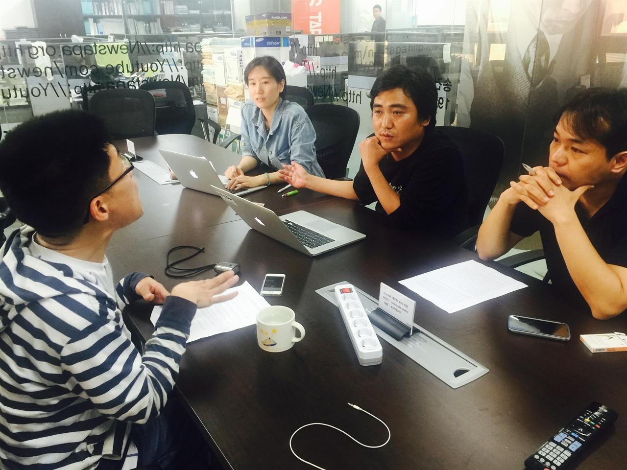 <참혹한 세월, 국가의 거짓말>의 <뉴스타파> 제작진(왼쪽부터 박경현 PD, 송원근 PD, 김성수 기자).