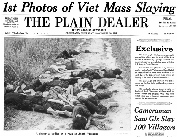 찰리 중대에 배속된 군사진사 로널드 해벌(Ronald Haeberle)이 자신의 개인 사진기로 찍은 학살사진. 1969년 11월 12일 프리랜서 기자 시모어 허시(Seymore Hersh)의 미라이 학살 특종보도를 계기로 그해 11월 20일 클리블랜드에서 발행되는 <플레인 딜러>라는 일간지에 처음 게재되고 <라이프(Life)>지에 실려 '더러운 전쟁'이라는 여론을 불러일으켰다.