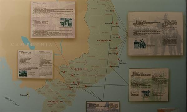 전쟁증적박물관에 전시된 베트남전(1962~1973년) 당시 남베트남의 미국 '위성국가' 군대의 주둔지역 지도. 오른쪽 상단이 청룡부대를 포함한 한국군 주둔지역으로 한국군은 가장 먼저 참전해 가장 늦게까지 남았다.