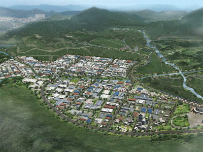 개성공단 조감도 3단계에 걸쳐  2012년 완공 예정이던 개성공은 남북관계 악화로 현재 1단계 공사 조차 완성하지 못한 상황이다.