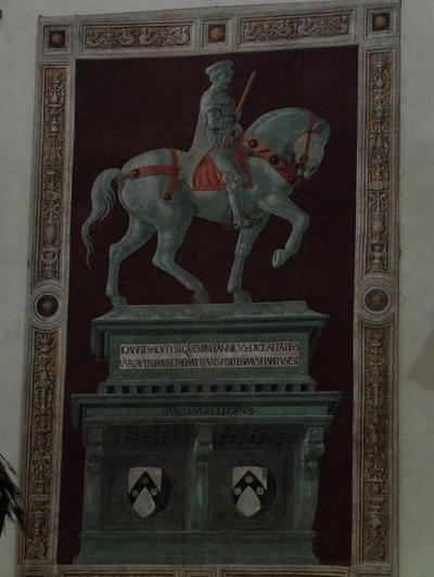 존 하쿠드의 기마상 파울로 우첼로, '존 하쿠드의 기마상' 피렌체, 산타 마리아 델 피오레 성당. 1364년 피렌체와 시에나 사이에 벌어졌던 '카시나 전투'를 승리로 이끈, 잉글랜드 용병 대장, 존 하쿠드의 기마상입니다.