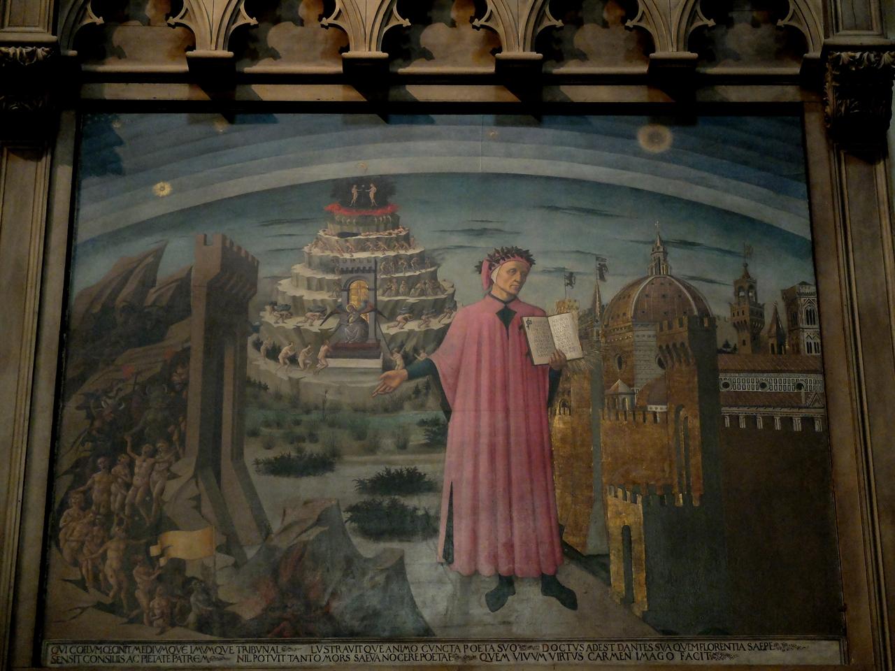 단테와 신곡 도메니코 디 미켈리노 '단테와 신곡', 피렌체, 산타 마리아 델 피오레 성당. 자신은 볼 수 없었던 15세기 피렌체의 두오모를 배경으로 신곡을 들고 있는 단테의 모습입니다.