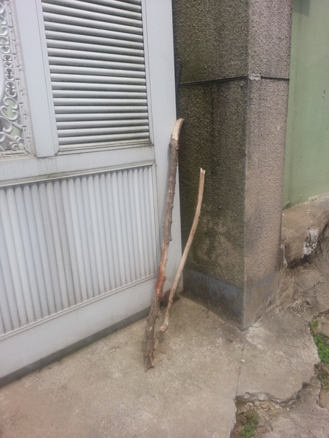대문 한 귀퉁이에 놓인 지팡이 언제부터인가 지팡이가 자꾸 보입니다~
