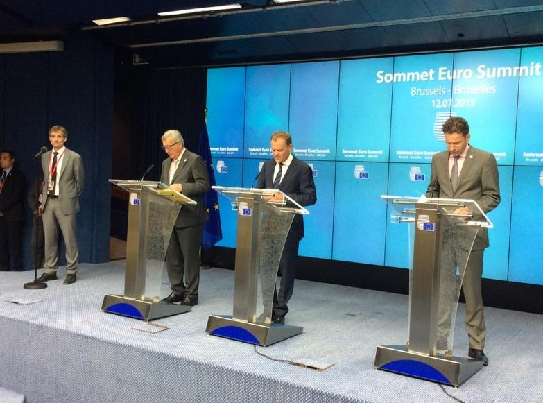 그리스 구제금융 개혁안 타결을 발표하는 유럽연합(EU) 정상회의 기자회견.