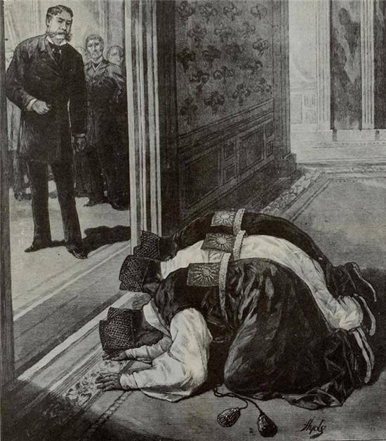 1883년 9월 미국 대통령인 아서를 접견한 사절단 보빙사(민영익 등 8명)가 절을 하는 모습