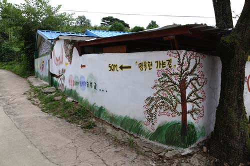 명옥헌원림으로 가는 길. 후산마을 골목 담벼락에 그림과 함께 명옥헌을 가리키는 화살표가 그려져 있다.