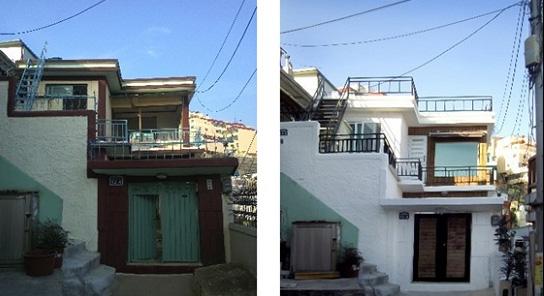 부산 동구 수정동 리노하우스의 시공 전과 시공 후 사진. 대지 44평짜리 낡은 주택을 사는데 1억 3천만 원, 개조 비용으로 6천만 원 남짓 들었다.