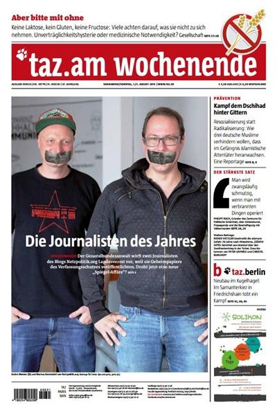 독일언론 타츠(taz)의 이번 주간신문표지를 '넷츠폴리틱'이 장식했다.
