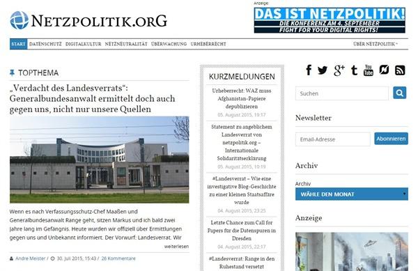 '넷츠폴리틱'의 블로그 웹사이트에서는 군사기관을 비롯한 정부기관에 의한 '디지털 감시'에 대한 다양한 정보를 접할 수 있다.