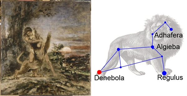 왼쪽은 <헤라클레스와 네메아의 사자>- 귀스타브 모로 (Gustave Moreau). 오른쪽은 사자자리.