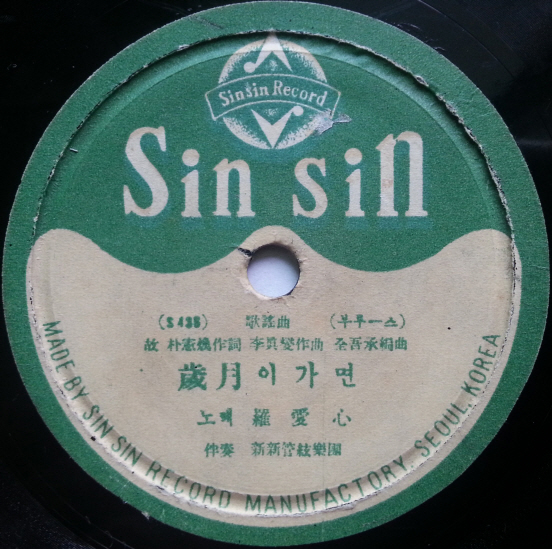 <세월이 가면> 최초 음반 딱지. 인쇄 오류로 박인환이 '박헌환'으로 표기되어 있다.