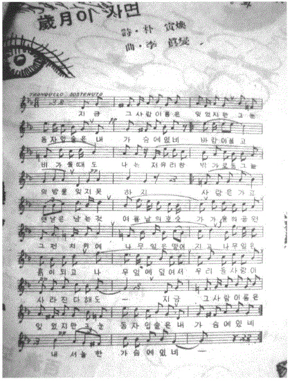 1956년 6월 월간지에 게재된 <세월이 가면> 첫 악보
