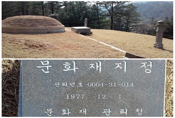 대전 동구 상소동에는 김태원의 묘지와 묘지 앞 표지석.  묘지 표지석에는 지난 1977년 12월 1일 자로 당시 문화재 관리청(지금의 문화재청)이 묘지를 문화재로 지정한 것으로 기록돼 있다. 하지만 문화재청은 문화재로 지정한 사실이 없다고 11일 밝혔다.