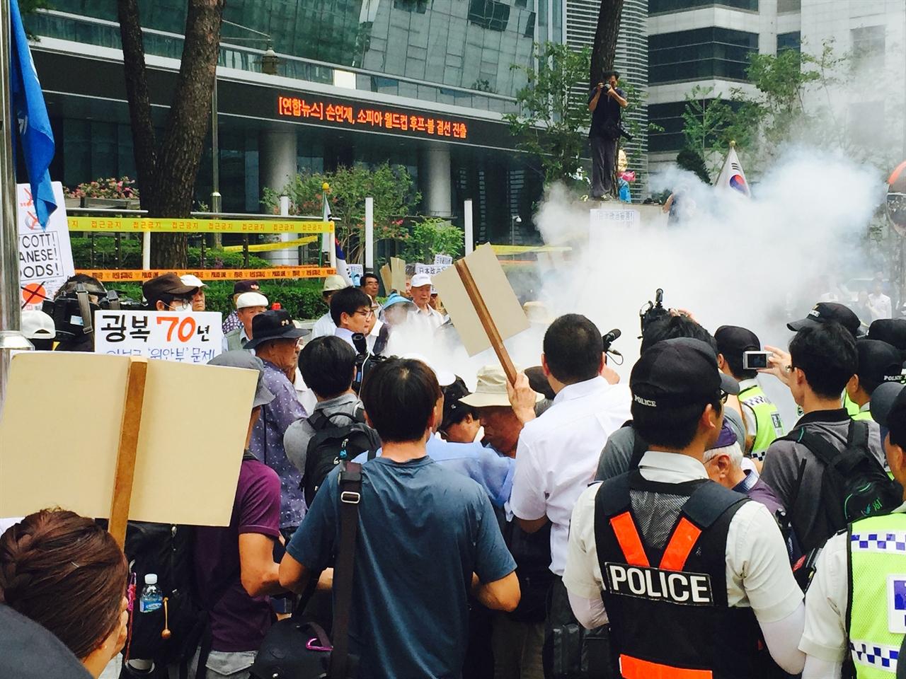 보수단체 집회가 벌어지는 가운데 희망나비 회원이 1인시위를 이어가고 있다.