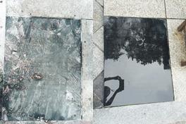 보수단체 집회 후 더럽혀진 평화비의 모습과 청소한 뒤의 모습