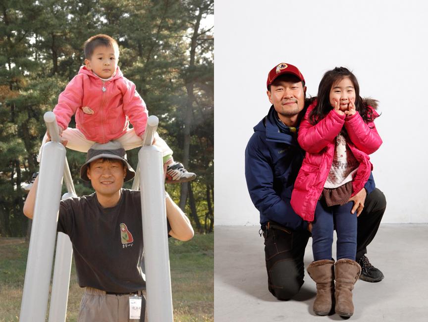 정수근 기자의 아들(좌)과 딸.