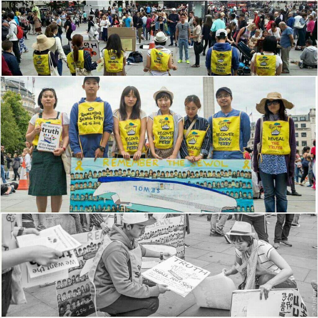 15일 영국 런던의 16차 침묵시위 16개월째 진행중인 침묵시위, 피케팅과 서명