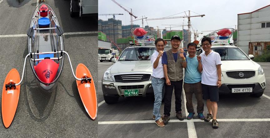 투명카약을 장착한 김종술(오른쪽에서 두번쨰), 박수근(세번째) 기자.